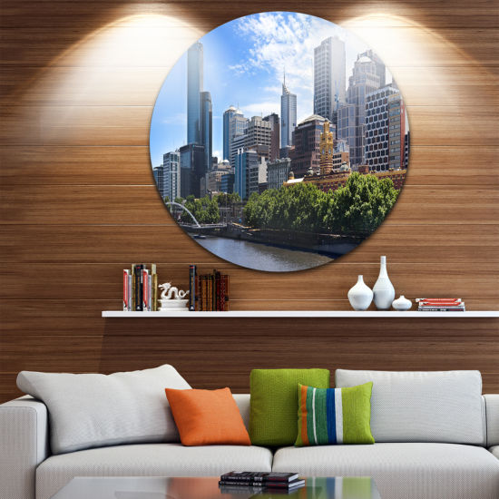 Design Art Melbourne City Victoria Cityscape DiscPhotography Circle Metal Wall Art