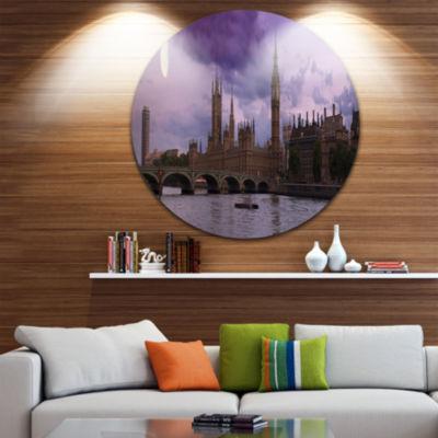 Design Art London with Purple Sky at Sunset Cityscape Photo Circle Metal Wall Art