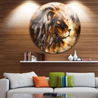 Design Art Lion Collage Animal Circle Metal Wall Art