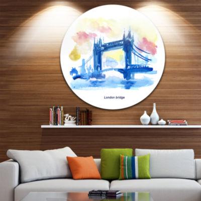 Design Art London Hand drawn Illustration Disc Cityscape Painting Circle Metal Wall Art