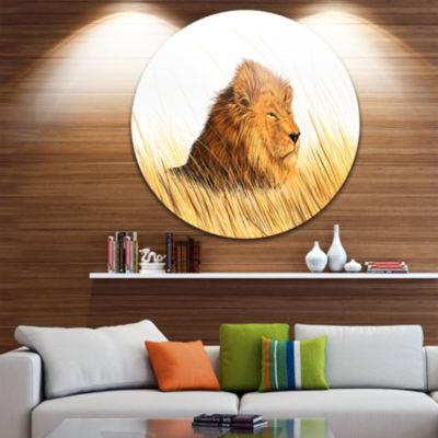 Design Art Lion Watching the Surroundings Disc Animal Circle Metal Wall Art