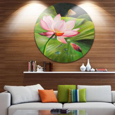 Design Art Lotus and Water drops Disc Floral MetalArtwork