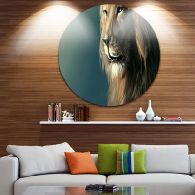 Design Art Lion with Serious Look Disc Animal Circle Metal Wall Art