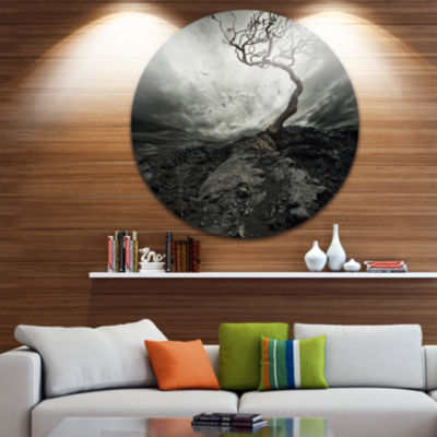 Design Art Lonely Tree under Dramatic Sky Disc Landscape Circle Metal Wall Art