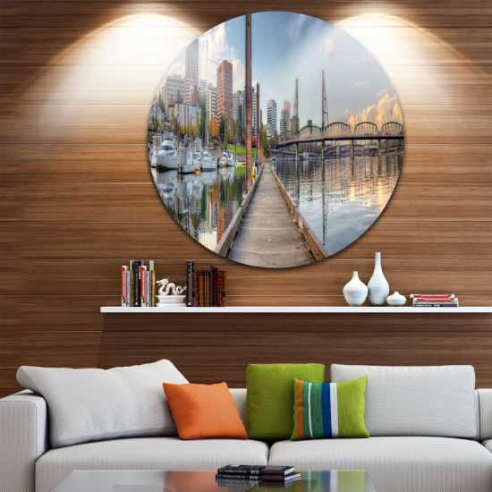 Design Art Marina Along the River Landscape Photography Circle Circle Metal Wall Art