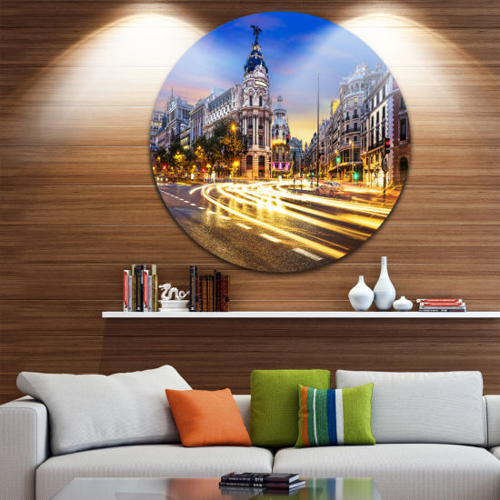 Design Art Madrid City Center Disc Cityscape Photography Circle Metal Wall Art