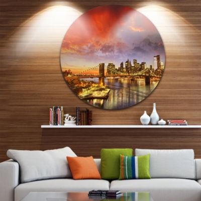 Design Art Manhattan Skyline at Winter Disc Cityscape Photo Circle Metal Wall Art