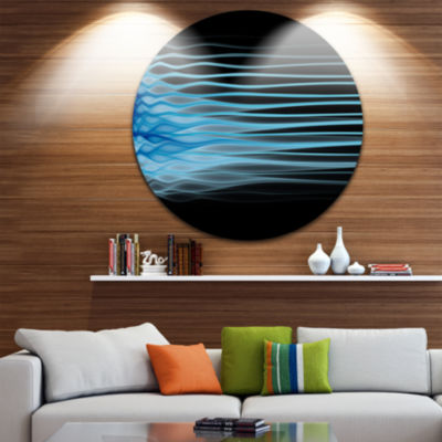 Design Art Light Blue Fractal Flames Abstract Arton Round Circle Metal Wall Decor Panel