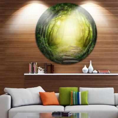 Design Art Magic Green Forest Landscape Photography Circle Metal Wall Art