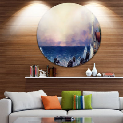 Design Art Lighthouse Sea Panoramic Landscape Circle Metal Wall Art