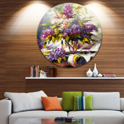 Design Art Lilac Bouquet in a Vase Floral Circle Metal Wall Art