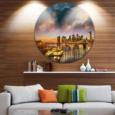 Design Art Manhattan at Winter Sunset Cityscape Photo Circle Metal Wall Art
