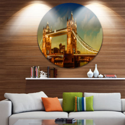 Design Art Majesty of Tower Bridge Disc CityscapePhotography Circle Metal Wall Art