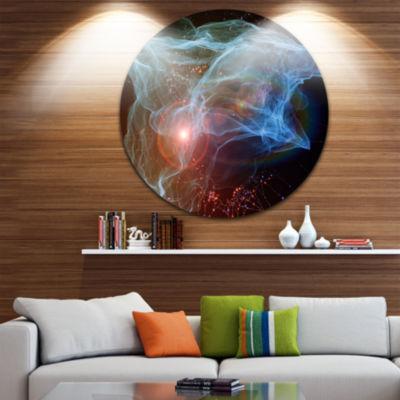 Design Art Light Blue Lights of Network Abstract Circle Metal Wall Art