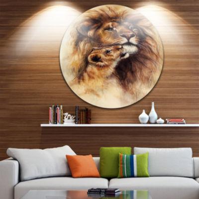 Design Art Loving Lioness Animal Metal Circle WallArt