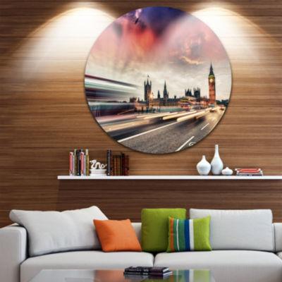 Design Art London Westminster Bridge Disc Cityscape Photo Circle Metal Wall Art