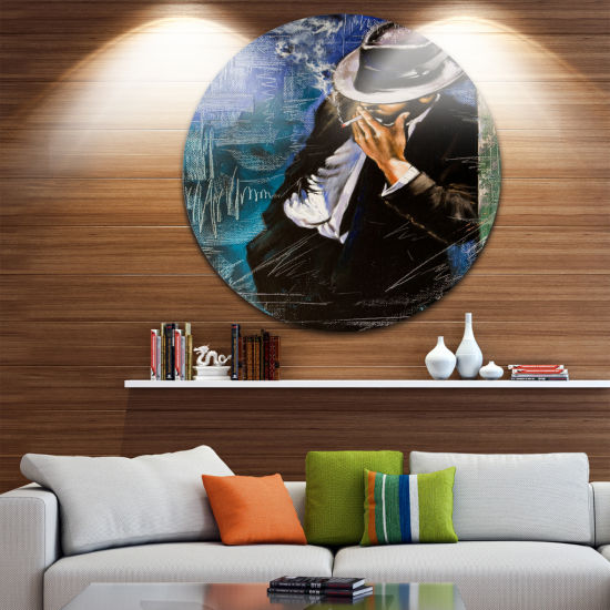 Design Art Man with Cigarette Portrait Circle Metal Wall Art