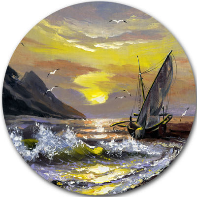 Design Art Meet you Soon Seascape Circle Metal Wall Art
