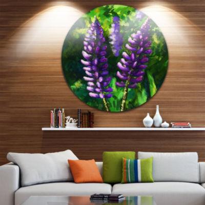 Design Art Lupin Flowers Floral Circle Metal WallArt