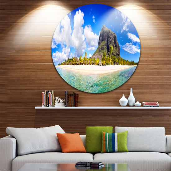 Design Art Mauritius Beach Panorama Disc Photography Circle Metal Wall Art