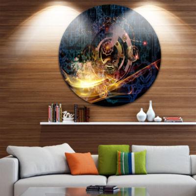 Design Art Lights of Gears Abstract Circle Metal Wall Art