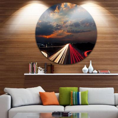 Design Art Long Exposure Traffic Abstract Circle Circle Metal Wall Art