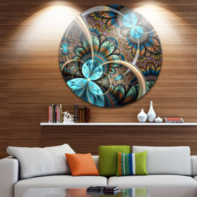 Design Art Light Blue Fractal Flower Disc Floral Circle Metal Wall Art