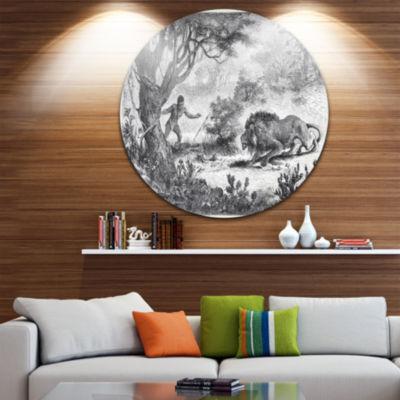 Design Art Lion Eating Man Disc Animal Circle Metal Wall Art