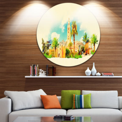 Design Art Marakesh Panoramic View Disc CityscapeWatercolor Circle Metal Wall Art