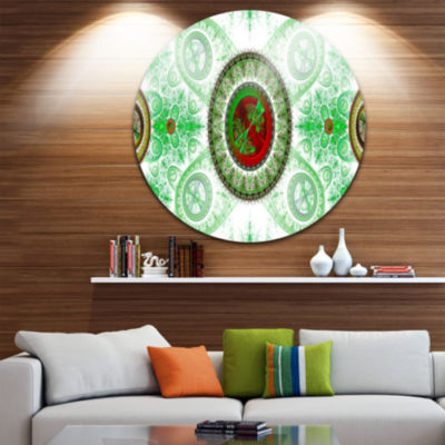 Design Art Light Green Psychedelic Relaxing Art Abstract Round Circle Metal Wall Decor