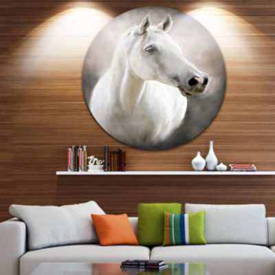 Design Art Lovely White Horse Animal Circle MetalWall Art