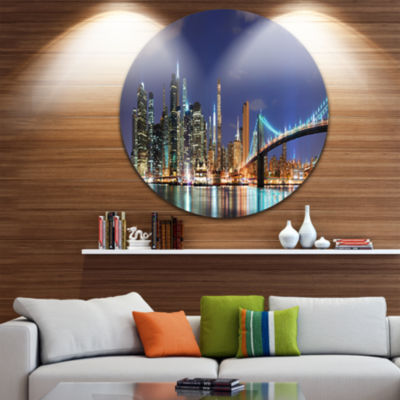 Design Art Manhattan Panoramic Skyline View Cityscape Photo Circle Metal Wall Art