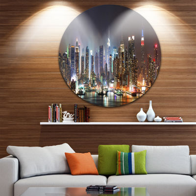 Design Art Lit NYC Manhattan Skyline Cityscape Photo Circle Circle Metal Wall Art