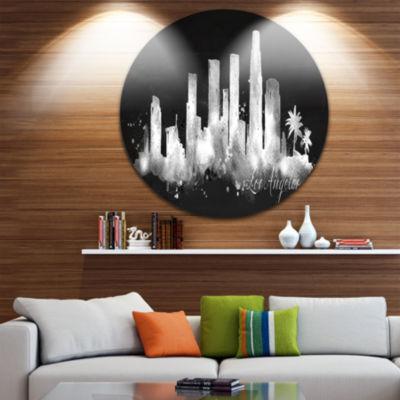 Design Art Los Angeles Dark Silhouette Disc Cityscape Painting Circle Metal Wall Art