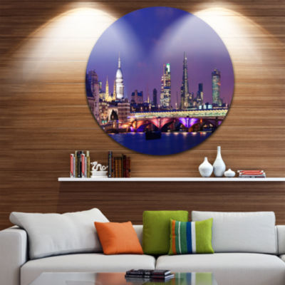 Design Art London Night Panorama Disc Cityscape Photo Circle Metal Wall Art
