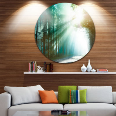 Design Art Magic Blue Forest Landscape PhotographyCircle Metal Wall Art