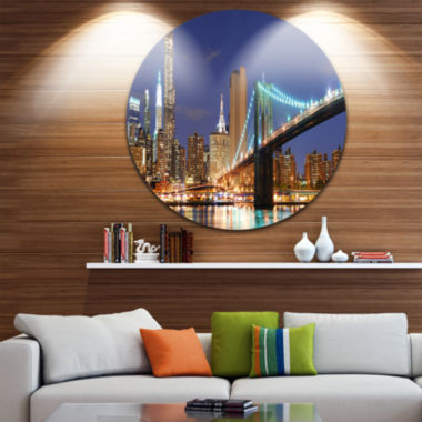 Design Art Manhattan Skyline Panorama Disc Cityscape Photo Circle Metal Wall Art