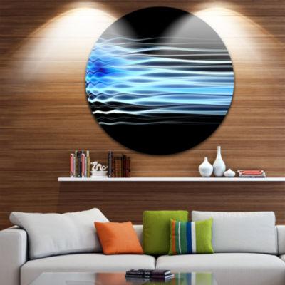 Design Art Light Blue Fractal Waves Abstract Art on Round Circle Metal Wall Decor Panel