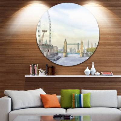 Design Art London Bridge Disc Cityscape Photography Circle Metal Wall Art