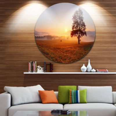 Design Art Lonely Tree at Sunset Disc Landscape Photography Circle Metal Wall Art
