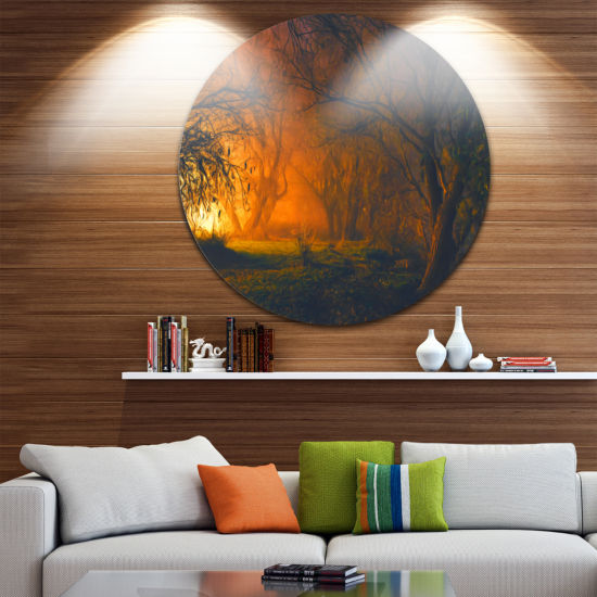 Design Art Magical Light in Forest Disc LandscapeCircle Metal Wall Art