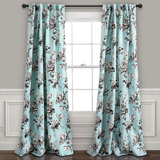 Half MoonTania Floral Room Darkening Window Curtain Panels