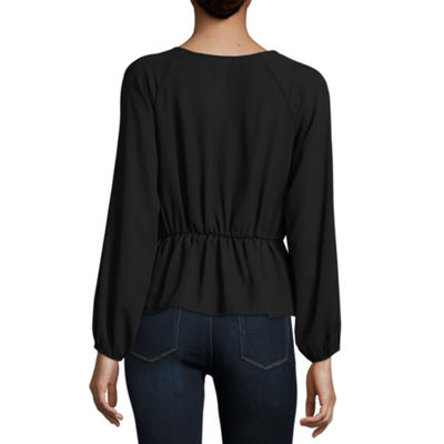 Belle + Sky Long Sleeve Button Front Corset Top - Misses