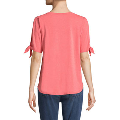 St. John's Bay Short Sleeve Round Neck Medallion T-Shirt-Womens