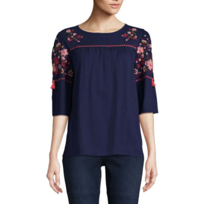 St. John's Bay Embroidered Elbow Ruffled Sleeve Peasant Top