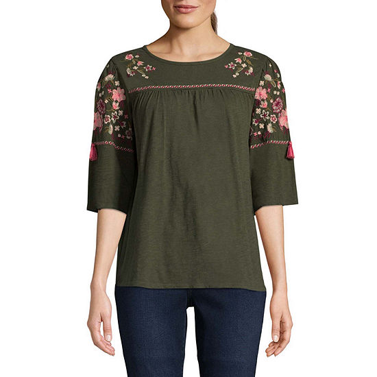 St. John's Bay Womens Round Neck Elbow Sleeve Embellished Embroidered Peasant Top