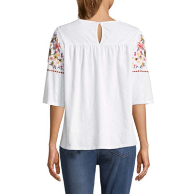 St. John's Bay Womens Round Neck Elbow Sleeve Embroidered Peasant Top