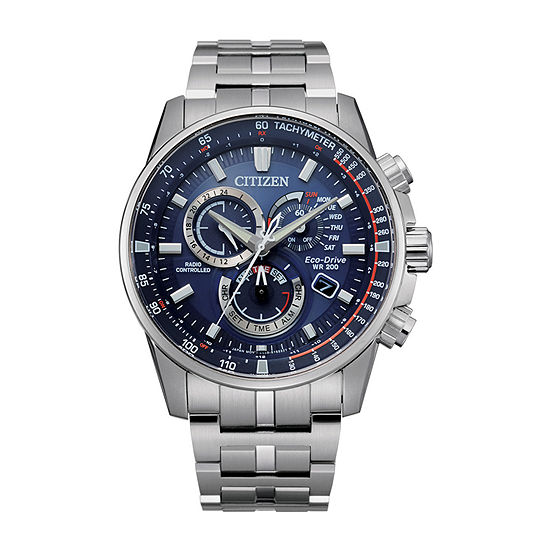 Citizen Pcat Mens Chronograph Atomic Time Silver Tone Stainless Steel Bracelet Watch-Cb5880-54l