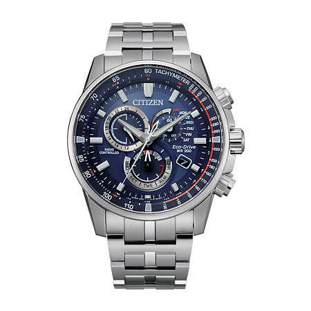Citizen Pcat Mens Chronograph Atomic Time Silver Tone Stainless Steel Bracelet Watch - Cb5880-54l, One Size
