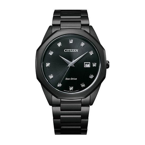 Citizen Corso Diamond Mens Black Stainless Steel Bracelet Watch-Bm7495-59g